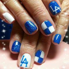 Los Angeles Dodgers nailed_by_sarah Gel Nail Art, Gel Nails, Nail Polish, Funky Nails, Blue Nails, Dodger Nails, Softball Nails, Dream Nails, Dodgers Apparel
