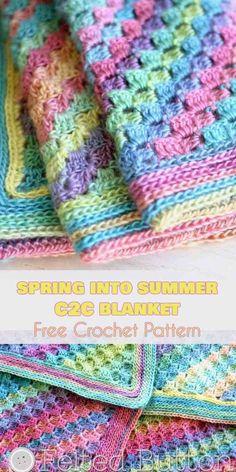 Spring into Summer C2C Baby Blanket [Free Crochet Pattern] | Your Crochet #freecrochetpatterns #babyblanket #babyboy #babygril #crochetblanket #blanket #summerstyle #cornertocorner