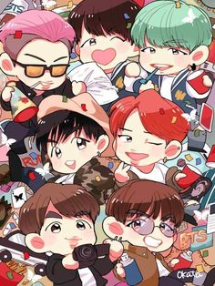 J-hope and Jungkook Bts Chibi, Kpop Drawings, Pencil Drawings, Bts Cute, Bts Anime, Chibi Wallpaper, Bts Reactions, Fan Art, Bts And Exo