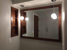 Walnut mirror and shelf