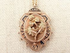 """Antique Victorian Gold Filled """"L.D. From Her Aunt""""  Flower Appliqued Locket Necklace by MindiLynJewelry on Etsy https://www.etsy.com/listing/223140056/antique-victorian-gold-filled-ld-from"""