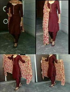 Punjabi Suits Designer Boutique, Indian Designer Suits, Indian Suits, Indian Wear, Punjabi Suit Simple, Salwar Suits Simple, Silk Kurti Designs, Patiala Suit Designs, Pakistani Fashion Party Wear