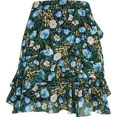 Blue floral chiffon rara mini skirt