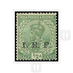 KING GEORGE V | Type	: Definitive | Stamp Name : King George V | Stamp Issue Date	: 1914 | Stamp Colour : Light Green | Face Value : 1/2 Anna | Stamp Printed At	: Overprinted by Govt. Press Calcutta | Description : INDIAN EXPEDITIONARY FORCES - George V stamps were overprinted I.E.F. for use by Indian Forces sent overseas during 1st World War & its aftermath. First used in France in September 1914, later used in East Africa, Mesopotamia & Turkey |