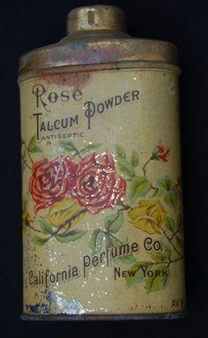 Vintage 1907 Rose Talcum Powder Antiseptic Vanity Tin by California Perfume Co. - New York. $35.00, via Etsy.  #wallartroad #tins