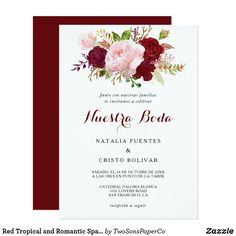 Red Tropical and Romantic Spanish Wedding Invitation Spanish Wedding Invitations, Burgundy Wedding Invitations, Destination Wedding Invitations, Wedding Invitation Cards, Elegant Invitations, Shower Invitations, Invites, Red Wedding, Floral Wedding