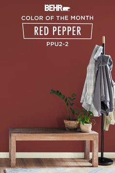 If youre looking for a warm and inviting shade to refresh your home. Y behr paint color of the month red pepper. Whether its your entryway. Paint For Kitchen Walls, Kitchen Paint Colors, Paint Colors For Living Room, Paint Colors For Home, House Colors, Red Paint Colors, Behr Colors, Bedroom Wall Colors, Bedroom Red