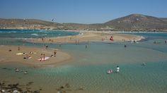 both sides of Prassonissi beach, Rhodes Island, windsurfing