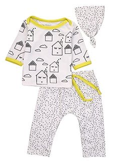 Baby Boys Girls 3PCS Outfit Long Sleeve Tshirt and Pants Outfit with a Hat 901218M Whiteyellow -- Read more reviews of the product by visiting the link on the image.Note:It is affiliate link to Amazon. #GirlsClothes