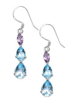Sterling Silver Blue Topaz & Amethyst Earrings by Olivia Leone on @HauteLook