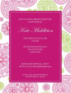 invite - I like the pattern and the colored center!