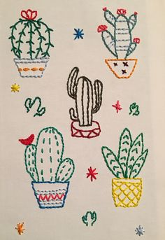 Embroidery on canvas - Cactus DIY Embroidered Cactus, Cactus Embroidery, Mexican Embroidery, Cute Embroidery, Cross Stitch Embroidery, Diy Embroidery Patterns, Hand Embroidery Projects, Sewing Patterns, Diy Y Manualidades