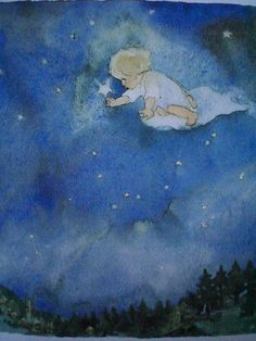 watercolor...Christmas star and angel coming to shepherds