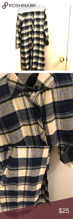 Plaid Longline Buttoned Down Fleece Soft to the touch (NEVER WORN) fleece shirt with pockets and slits down both sides!!! Super cute... Tops Button Down Shirts
