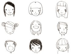 """Please enjoy the various expressions"". Doodle Drawings, Cartoon Drawings, Cute Drawings, Doodle Art, Buch Design, Character Drawing, Illustrations And Posters, Cute Illustration, Drawing People"