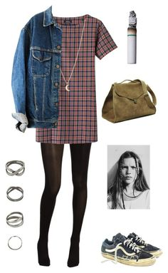 """true grunge"" by annieglaysh ❤ liked on Polyvore featuring Hue, Vans, Maison d'usQ, Minor Obsessions, oversized denim jackets and tartan dresses"