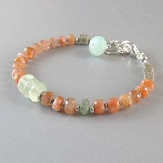 Sunstone Prehnite Green Kyanite Chalcedony Sterling Silver Bead Gemstone Bracelet DJStrang Boho Orange Green Blue Cottage Chic - affordable womens jewelry, womens turquoise jewelry, womens discount jewelry