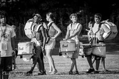 An image of the drumline from an afternoon practice session of the Munford High School Marching Band.