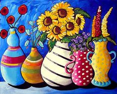 Five Funky Vases Renie Britenbucher x Fun and whimsical painting of 5 colorful vases filled with colorful flowers. Abstract Flowers, Watercolor Flowers, Colorful Flowers, Flower Vases, Flower Art, Frida Art, Mini Canvas Art, Watercolor Artwork, Colorful Paintings