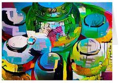 """Tea Set"" - Art Greetings Card. Original art by Roger Smith http://www.zazzle.com/tea_set_art_greetings_card-137359577256232677 #card #art #tea #RogerSmith"