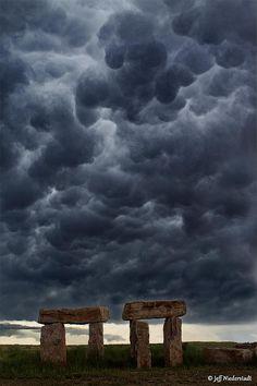 Stonehedge Replica, Fountain, Colorado- upper top cloud looks like someone body