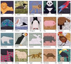 The ultimate book of animal quilt blocks is back! Whether you love animals from the farm, at the zoo, or in the wild, A Quilter's Ark has a fun project for you. Click through to see all 53 cute critters.