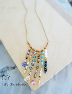 Boho chic necklace with leftover beads