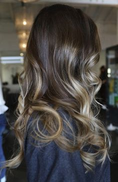 Beautiful dark ash brown look with light blond ombre high lighted ends