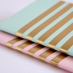 Quill London | Pair of stripey pocket notebooks in green, pink & gold ...