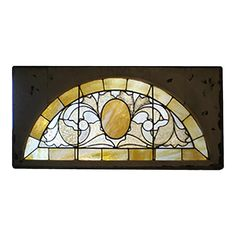 1900 half-round transom window having an abstract foliate design with central oval medallion and geometric border. Two available, priced individually. Antique Stained Glass Windows, Stained Glass Church, Stained Glass Crafts, Stained Glass Designs, Stained Glass Panels, Stained Glass Patterns, Shaped Windows, Church Windows, Easy Arts And Crafts