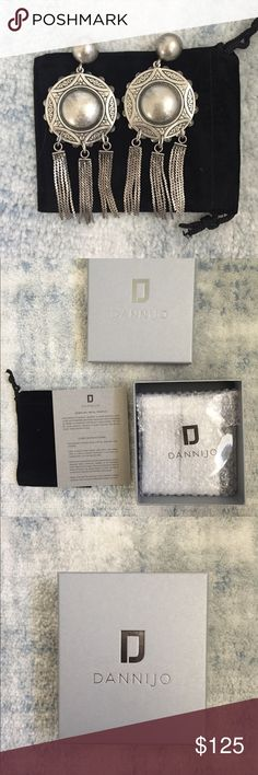 "DANNIJO Shelton II Earrings NIB New and sealed in box! The photo of the earrings is of my own pair, this pair is sealed and comes in dust bag and box. Beautiful statement earrings in oxidized silver. Post back. Measures 2"" wide and 3.5"" long. DANNIJO Jewelry Earrings"