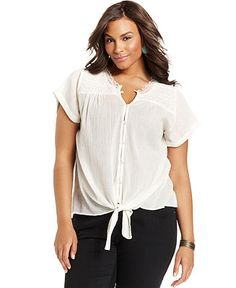 Lucky Brand Jeans Plus Size Top, Short-Sleeve Lace Tie-Front - Plus Size Tops - Plus Sizes - Macy's