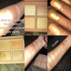 https://www.revelist.com/beauty-news-/kim-kkw-beauty-highlighter/12827/  Kim K randomly teased swatches from both palettes on May 20.