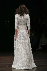 Kauai by Naeem Khan back view A-line embroidered boho gown with high neck and 3/4 sleeves