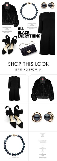 """""""Monochrome: All Black Everything"""" by pearlparadise ❤ liked on Polyvore featuring Warehouse, House of Fluff, Aminah Abdul Jillil, Christian Dior, StyleNanda, monochrome, allblackoutfit, pearljewelry and pearlparadise"""