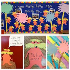 """Earth Day is a great time to read your students """"The Lorax"""" by Dr. This teacher chose """"I Can Help Save the Earth By ."""" as the title of her Earth Day bulletin board display. She had students write their answers inside cute Lorax templates. Dr. Seuss, Dr Seuss Week, Classroom Door, Future Classroom, Classroom Ideas, Truffula Trees, Earth Day Activities, The Lorax, Student Teaching"""