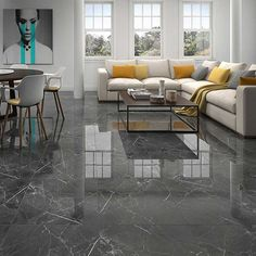 Marengo Marble porcelain tiles very elegant and ideal for walls and floors.Often used in contemporary applications particularly floors Displays of this tile can be seen in our showrooms - Marengo marble porcelain tiles - pinupi love to share Living Room Tiles Design, Living Room Flooring, Living Room Designs, Home Floor Design, Marble Porcelain Tile, Marble Tiles, Tile Bedroom, Bathroom, Chic Living Room