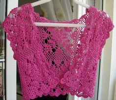 bolero crochet patterns op Jessica Tromp in English and Nederlands Crochet Bolero Pattern, Crochet Motifs, Crochet Jacket, Crochet Blouse, Crochet Chart, Knit Crochet, Easy Crochet, Knitting Designs, Knitting Patterns