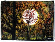 Monlight art 12 x 16 stretched canvas by ThisArtToBeYours on Etsy