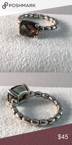 Pandora Brown Quartz Ring Authentic and in amazing condition. Size  7.5 Pandora Jewelry Rings