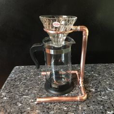 Industrial Design Pour Over Coffee Stand, Drip Coffee Stand, Copper Pipe Steampunk Decor, Copper Kitchen, Use with V60 & Coffee Drip Cones