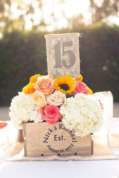 vintage wooden box wedding centerpiece / http://www.himisspuff.com/wooden-box-wedding-decor-centerpieces/14/