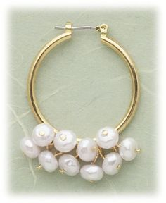 Simply Whispers hypoallergenic and nickel free Jewelry pierced earrings gold joint and catch hoop with pearl drops