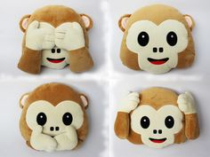 1pc New Emoji Pillow No Speaking No Looking No Listening Emoji Monkey Pillow b10cb9569