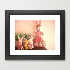 Here comes peter cotton tails Framed Art Print by Vintage Cuteness Hunny Bunny, Here Comes, Vintage Easter, Bunny Rabbit, Easter Bunny, Kitsch, Framed Art Prints, Pastel, Happy