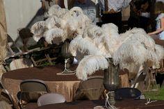 Vintage 1920's Theme Wedding: Feather centerpieces