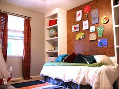 DIY Headboards on HGTV...don't like this color/type of cork, but great idea. could turn full-sized bed sideways to create daybed effect and decorate with throw pillows.  Great backdrop for teen room, could change up posters, artwork and photographs easily