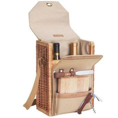 4 Piece Corsica Wine and Cheese Basket Set