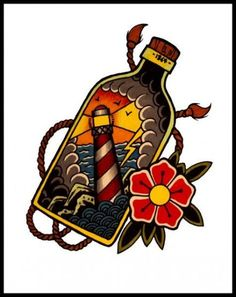 Super tattoo old school ship bottle Ideas - tattoo - . - Super tattoo old school ship bottle Ideas – tattoo – - Traditional Lighthouse Tattoo, Traditional Ship Tattoo, Navy Tattoos, Cool Tattoos, Old School Sleeve, Old School Ink, Old School Tattoo Designs, Tattoo School, Old School Tattoos