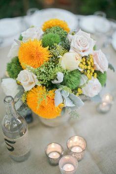 Yellow and green wedding centerpiece | photography by http://troygrover.com/ #wedding #love #weddingideas #greenwedding #greenmotif